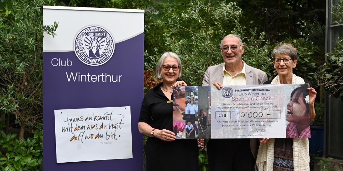 Angela Epp, Präsidentin SI Club Winterthur, Franz Buffon, Präsident Gönnerverein Myanmar, Sylvia Hirschle OK-Präsidentin SI Club Winterthur